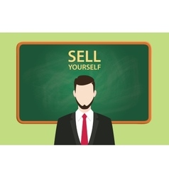 Sell yourself with businessman vector