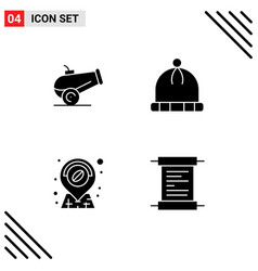 Set 4 solid glyphs on grid for canon receipt vector