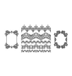 set black line floral design elements in henna vector image