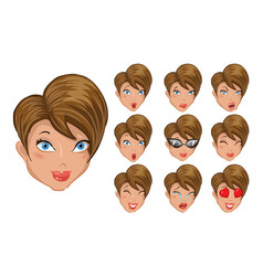 Set of emoticons girls vector
