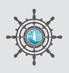 ship helm and porthole vector image