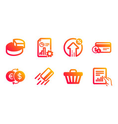 Shop cart report and payment method icons set vector