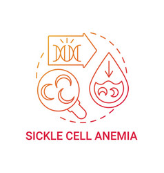 Sickle cell anemia red gradient concept icon vector