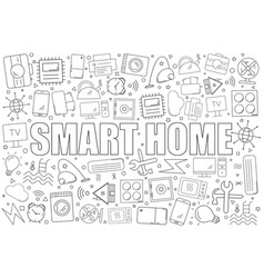 Smart home background from line icon vector