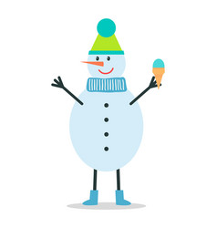 Snowman in winter hat and scarf holds ice cream vector