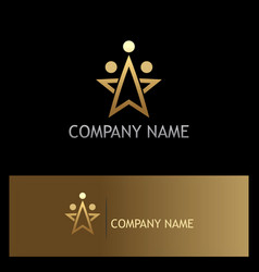 Star gold dot company logo vector