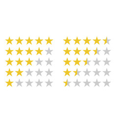 Star rating symbols with 5 star vector