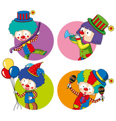 sticker templates with happy clowns vector image