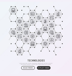 technologies concept in honeycombs vector image