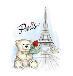 teddy bear and eiffel tower paris france vector image