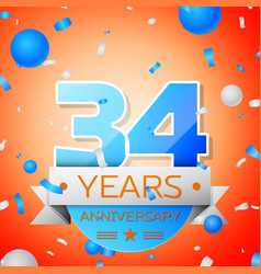 Thirty four years anniversary celebration vector