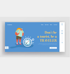 tourism and travel landing page summer traveling vector image