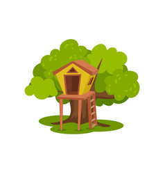 Treehouse hut on tree with ladder for kids vector