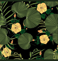 tropical yellow hibiscus and leaves pattern vector image