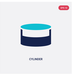 Two color cylinder icon from geometric figure vector