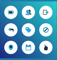 user icons colored set with ban exit calendar vector image