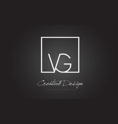 Vg square frame letter logo design with black vector