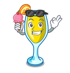 With ice cream mimosa character cartoon style vector
