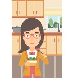 Woman eating salad vector
