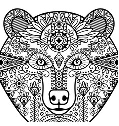 Zentangle bear head vector