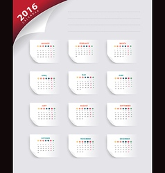 calendar 2016 new year paper banner template vector image