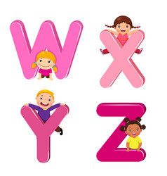 cartoon kids with wxyz letters vector image vector image