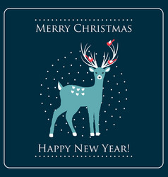 christmas card with a deer vector image