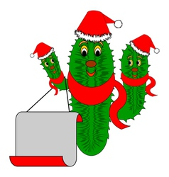 Funny Christmas cactus with a big blank paper vector image