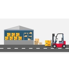 Warehouse and Stackers Flat Design vector image