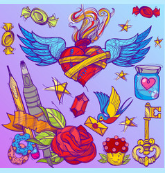 cartoon hand drawn colorful detailed design vector image vector image
