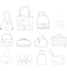 collection of hand drawn l bags vector image vector image