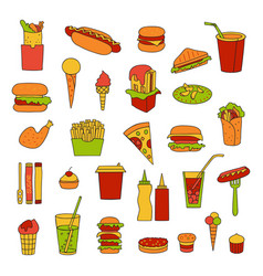 fast food big set vector image vector image