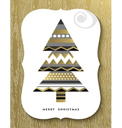 Gold Merry Christmas pine tree greeting card vector image vector image