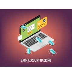 Hacker activity computer and viruses bank account vector