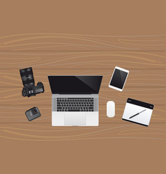 laptop with cameras vector image