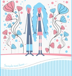 postcard with boy and girl on a walk vector image vector image