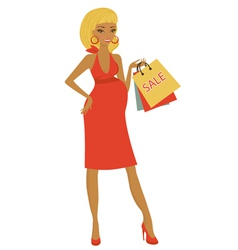 Preggy shopping at sales vector image