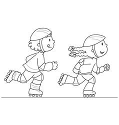 two young skaters vector image vector image