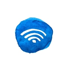 Wireless network symbol on bright blue watercolor vector image