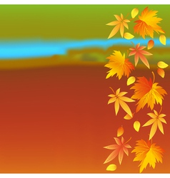 Autumn wallpaper with landscape and leaf fall vector image vector image