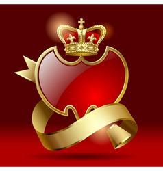 Badge with ribbon and crown vector image