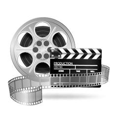 Cinema clap and film reel vector