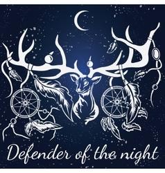 deer White silhouette Dream catcher vector image vector image