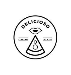 delicious italian pizza logo with mouth icon vector image vector image