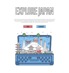 explore japan poster with open suitcase vector image vector image