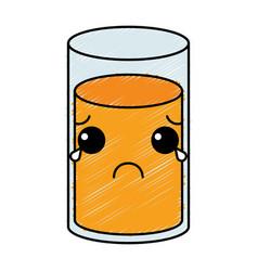 orange juice glass kawaii character vector image vector image