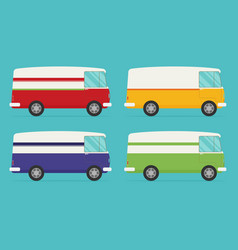 set of color trucks isolated trucks flat design vector image