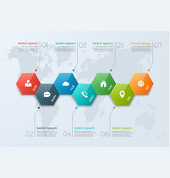 timeline chart infographic template with 7 options vector image