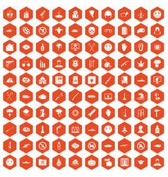 100 oppression icons hexagon orange vector image vector image