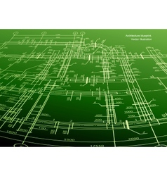 Architecture house plan green background vector image